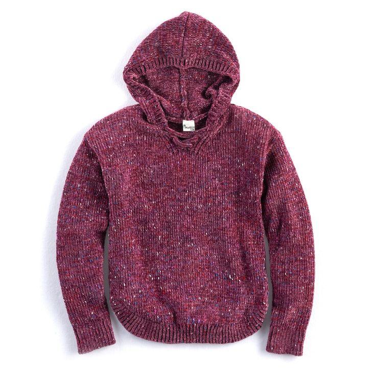 Girls 7-16 & Plus Size Mudd® Lace-Up Chenille Sweater Hoodie, Size: 7-8, Purple