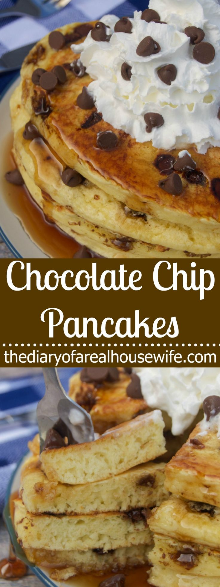Chocolate Chip Pancakes. I LOVE this simple recipe and come on chocolate for breakfast, you can't get much better then that.