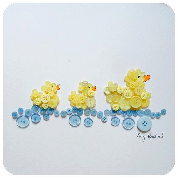Little Ducklings Framed Button Art ideal by ButtonHeadCreations