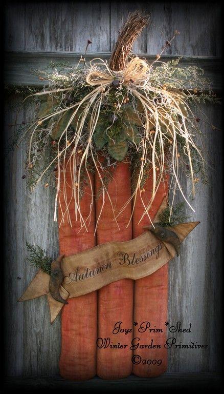 Primitive Folk Art Halloween Pumpkin Door Hanger e-Pattern