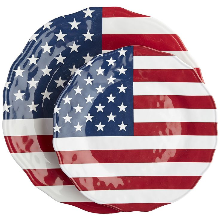 Multi Colored American Flag Dinnerware Dinnerware