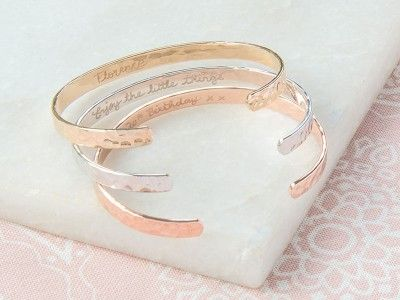 Personalised Hammered Open Bangle