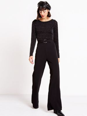 50c391cd52 Black Round Buckle Flare Trouser | The Bottom Line | Trousers ...