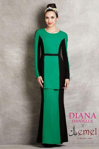 Diana Danielle x emel -Modern Kurung with Contrast Panel