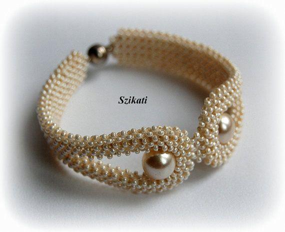 Beige pearl bracelet, OOAK seed bead bracelet, Beaded cuff bracelet, Statement bracelet, Art beadwork, Elegant jewelry, RAW, Unique gift