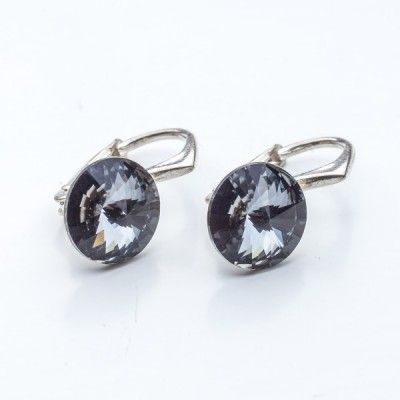 Swarovski Rivoli Earrings 8mm Jet  Dimensions: length: 1,7cm stone size: 8mm Weight ~ 1,85g ( 1 pair ) Metal : sterling silver ( AG-925) Stones: Swarovski Elements 1122 SS39 Colour: Jet 1 package = 1 pair