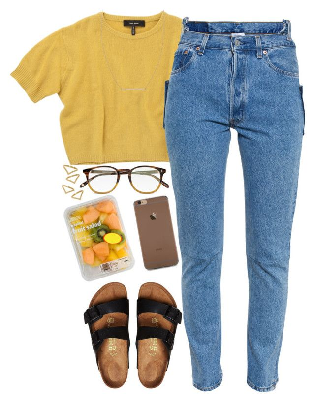 """my ootd."" by daisym0nste ❤ liked on Polyvore featuring Forever 21, 3.1 Phillip Lim, Isabel Marant, Vetements, Birkenstock, Garrett Leight, FRUIT, Rebecca Taylor, Ana Khouri and women's clothing"