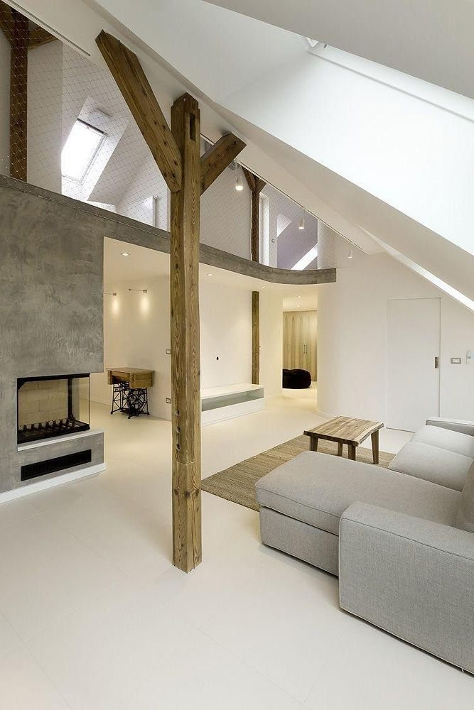 .fire place: Living Rooms, Round Loft, Expo Beams, Loft Apartment, Clean Line, Interiors Design, A1Architect, Natural Wood, A1 Architects