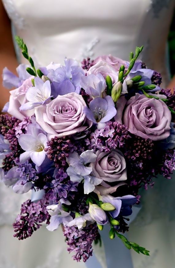 Wedding bouquet ● Purple Rose, Sweet Pea, Freesia and Lilac.  www.tablescapesbydesign.com https://www.facebook.com/pages/Tablescapes-By-Design/129811416695