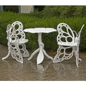 $570.00 (CLICK IMAGE TWICE FOR UPDATED PRICING AND INFO)Cast Aluminum Patio Furniture - Butterfly Bistro Set - FHBFBSET-W - White - See More Butterfly Chairs at http://www.zbuys.com/level.php?node=3925=butterfly-chairs