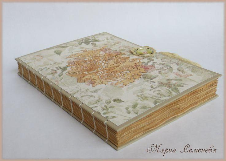 """Блокнот винтажный """"Птицы"""" Открытый коптский переплет формат А5 40 листов плотной бумаги (200гр) листочки состарены в чае картинка с птицами вырезана в ручную"""
