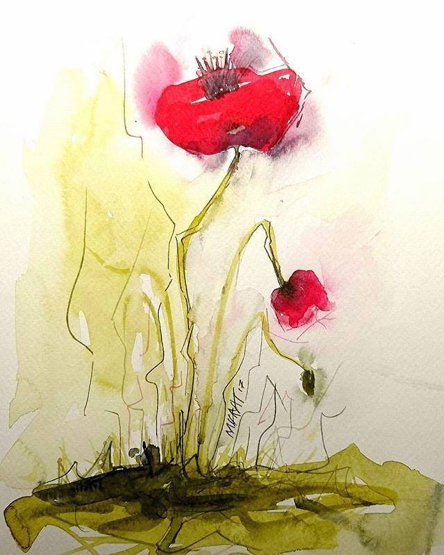 Gelincik, çiçek, watercolor