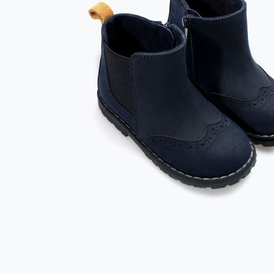 Image 4 of Elastic boot with broguing detail from Zara