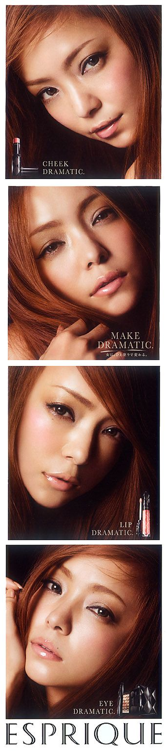 Namie Amuro (Japanese Singer). ESPRIQUE by KOSE (Cosmetics company). Leaflet 2012. 4face,expression.