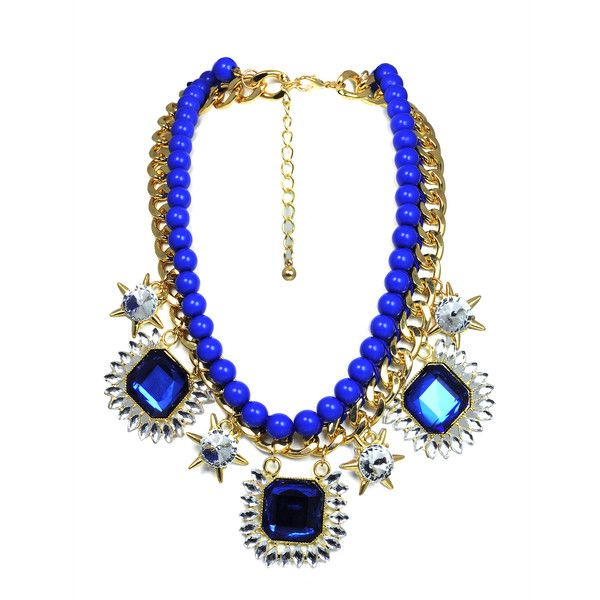 Blue and Gold Chunky Crystal Detail Necklace (210 BRL) ❤ liked on Polyvore featuring jewelry, necklaces, chunky necklaces, blue jewelry, cut out necklace, blue gold necklace and chunky gold necklace