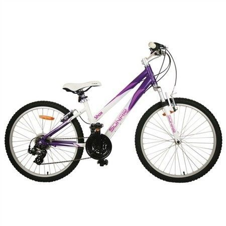 Colour Purple with White  Light Weight Allumium Frame  Full SHIMANO 21piece Drivetrain with SHIMANO Tourney Front and Rear Derailleurs  Revo Shifters and SHIMANO freewheel  ALLOY Wheels with quick release front wheel  Fork - Supenion w/50mm  Crankset Alloy 152mm Arms  42/34/24T
