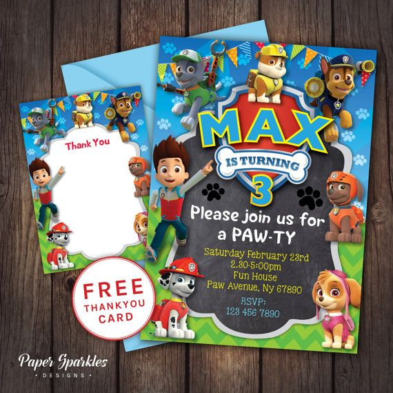 Etsy Paw patrol Party Paw patrol Invitation Paw by PaperSparkleDesigns
