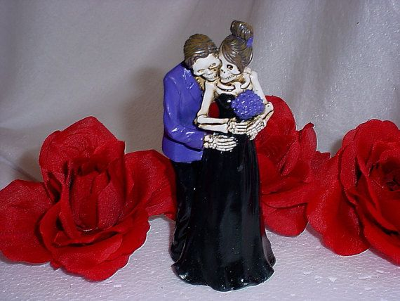 Halloween Bride and Groom Pose for Camera Red by splendorlocity