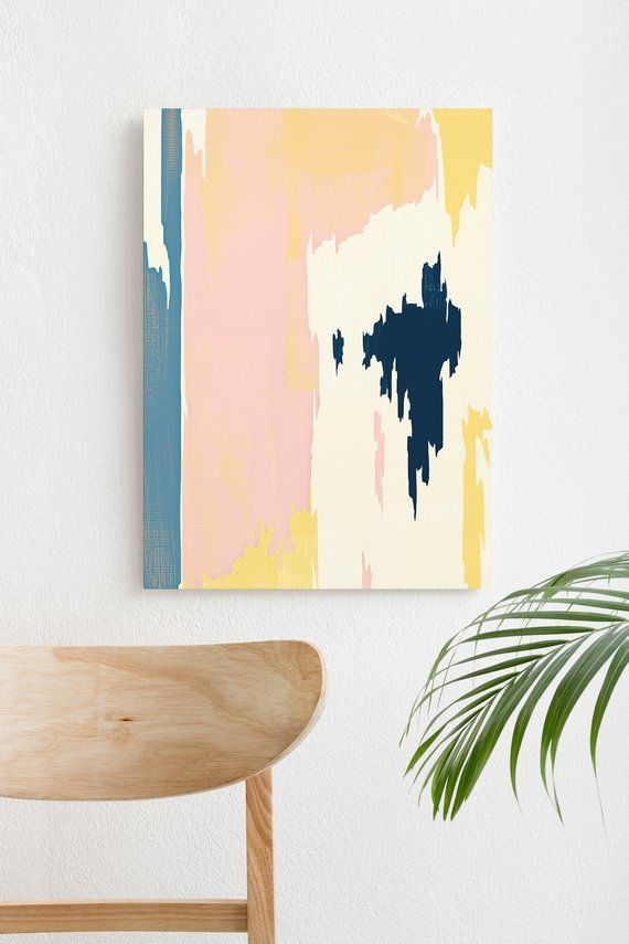 Pastel Abstract Painting Scandinavian Art Blush Pink And Navy Painting Blue And Yellow Art Abstract Art Prin Abstract Art Projects Wall Painting Yellow Art
