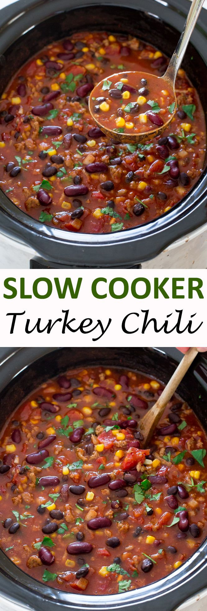Slow Cooker Turkey Chili. The BEST turkey chili made healthier and in the slow cooker! Hearty, thick, filling and full of flavor!