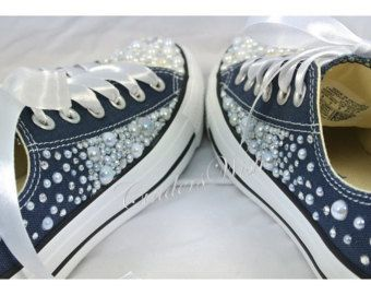 Pearl ConverseCustom Converse Womens by TheCrejaCollection on Etsy