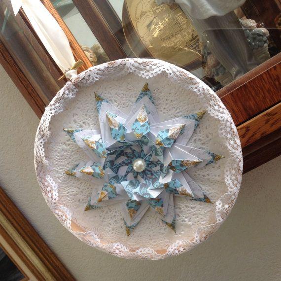 Teabag Folded Victorian Style Origami Star by GracelinePaperStudio