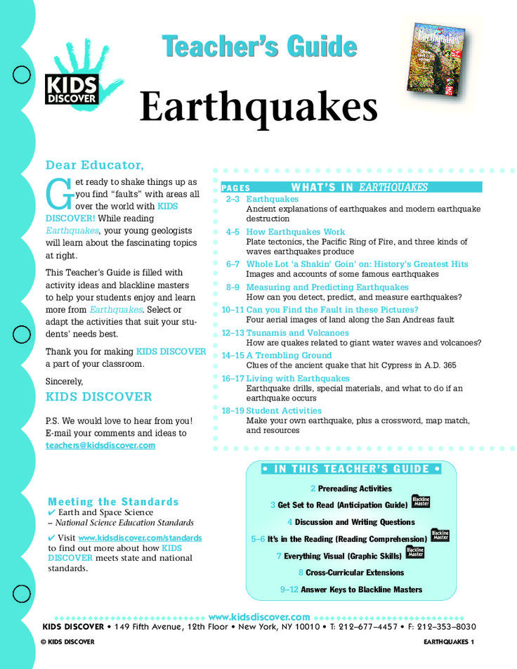 Hey, what's shakin'? Everything is, in Earthquakes. This free Lesson Plans for Kids Discover Earthquakes helps you teach essential concepts about these powerful and unpredictable upheavals.