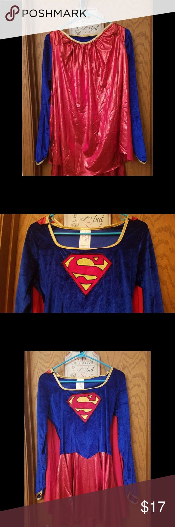 Super Women costume size medium red cape Super woman costume with cape, size medium, great condition, the blue part is velvet, the red one is shiny, great stitching in S symbol. Other