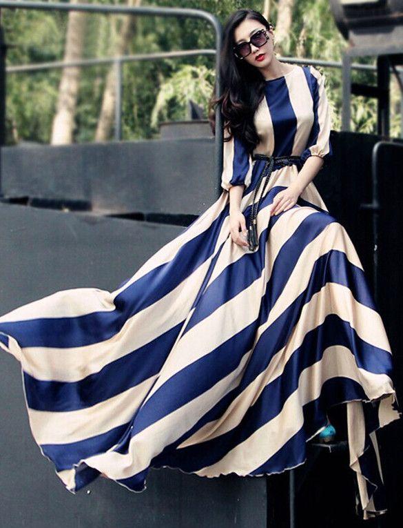 Women's O-Neck 3/4 Sleeve High Waist Stripe Pleated Maxi Dress
