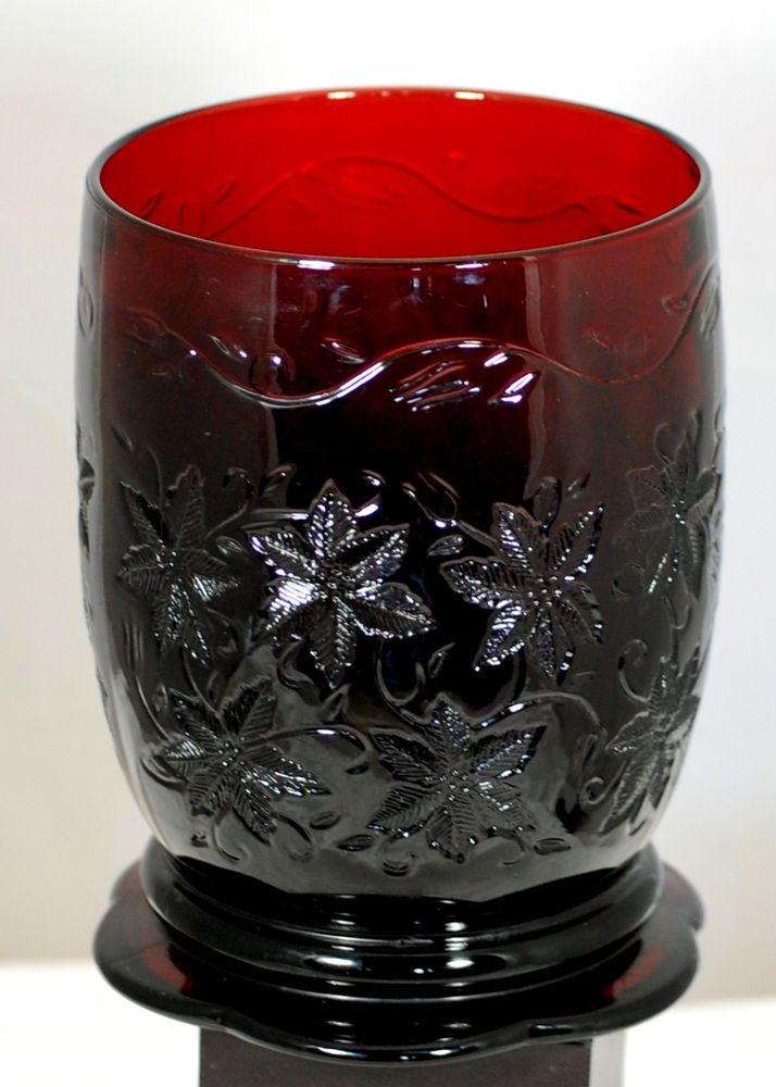 Princess House Large Ruby Red Poinsetta Embossed Vase Candle Holder Gifts For Her Pinterest