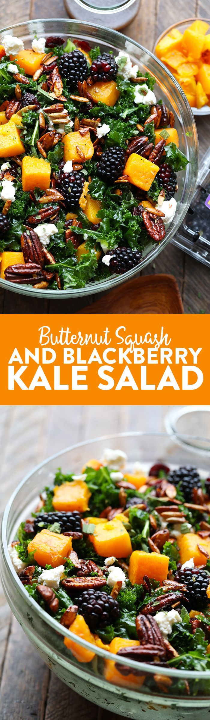 This Harvest Blackberry and Butternut Squash Massaged Kale Salad is an excellent healthy lunch or dinner and even doubles as a holiday salad to share. It's made with roasted butternut squash, candied nuts, Driscoll's blackberries, and massaged kale with a