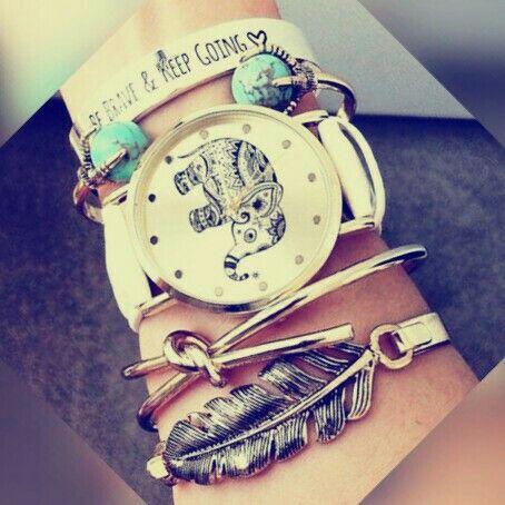 Coole Armbänder:  Elefant, Be brave and keep going, Feder, blaue Steine