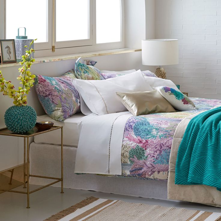 Multicoloured Coral Print Bed Linen