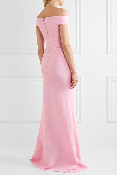 Roland Mouret - Gerzon Off-the-shoulder Wool-crepe Gown - Pastel pink