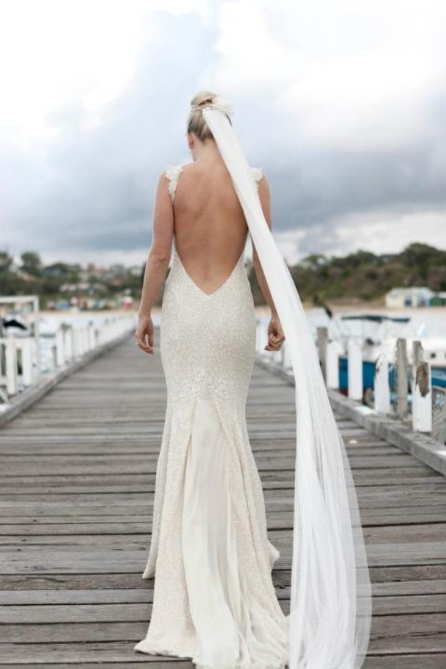 Low Back Wedding Dress With Veil : Pallas couture dress low