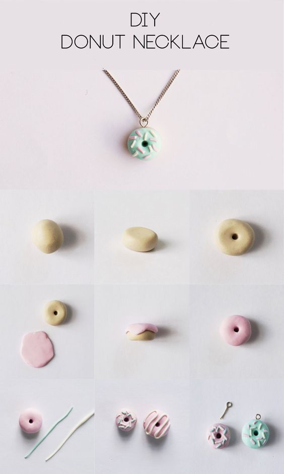 clay donut necklace