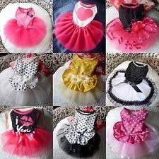Cute Pet Dog Tutu Dress Lace Skirt Cat Princess Clothes Party Dress 9 Style XS-L