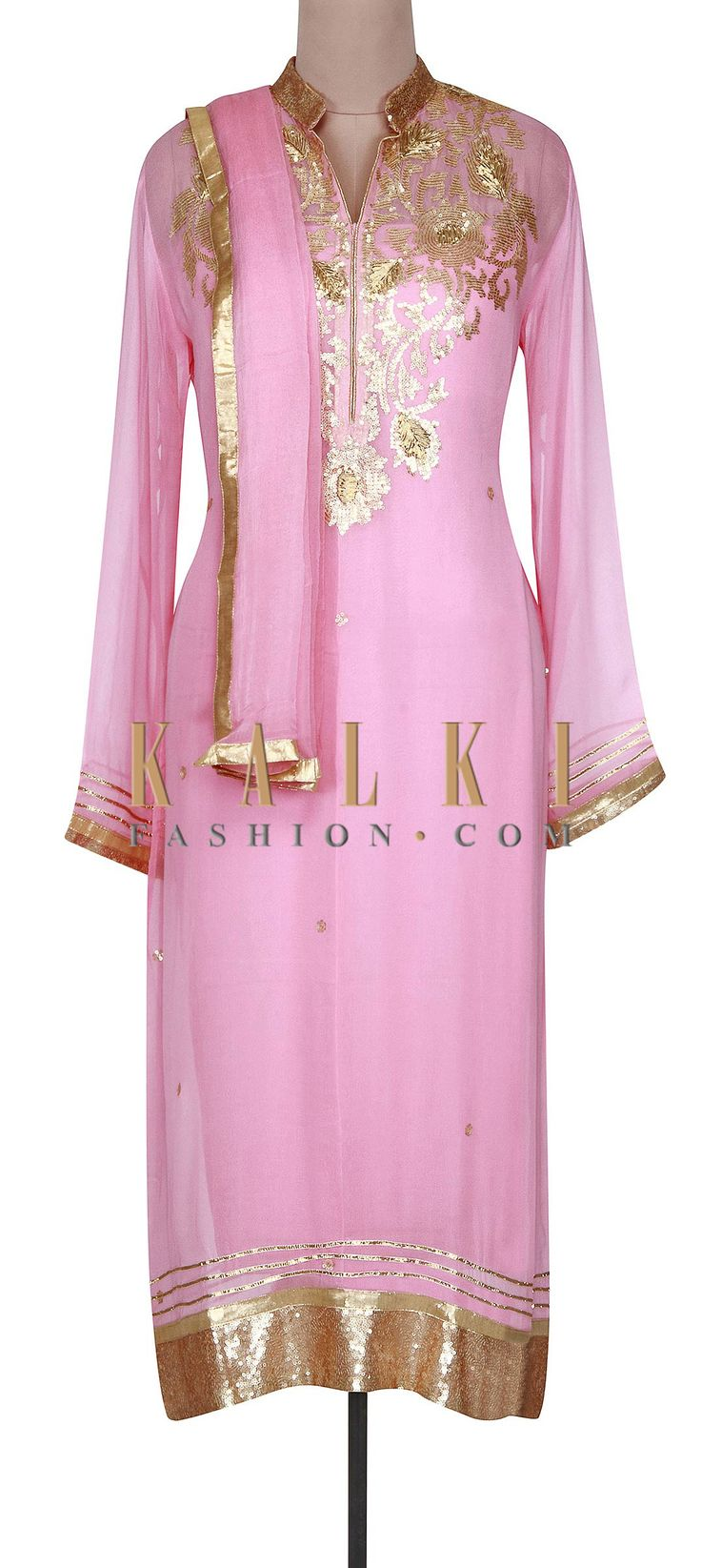 Buy Online from the link below. We ship worldwide (Free Shipping over US$100). http://www.kalkifashion.com/pink-semi-stitched-suit-adorn-in-zari-embroidery-only-on-kalki-17438.html