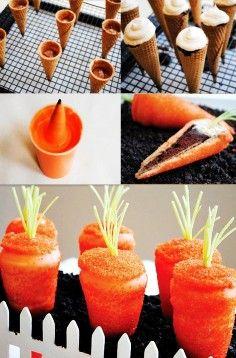 Easter Carrot Cupcakes Recipes, Easter DIY Tutorial: Carrot Shaped Cupcakes, Easter Food ideas, Easter table decorations ---  http://blog.hwtm.com/2012/04/diy-tutorial-sparkling-surprise-carrot-cupcakes/