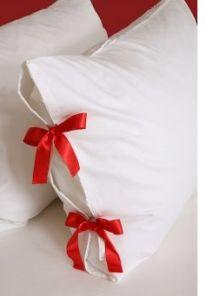 Ribbon added to a plain pillowcase turns it into a one-of-a-kind sham. ❥Teresa Restegui http://www.pinterest.com/teretegui/❥