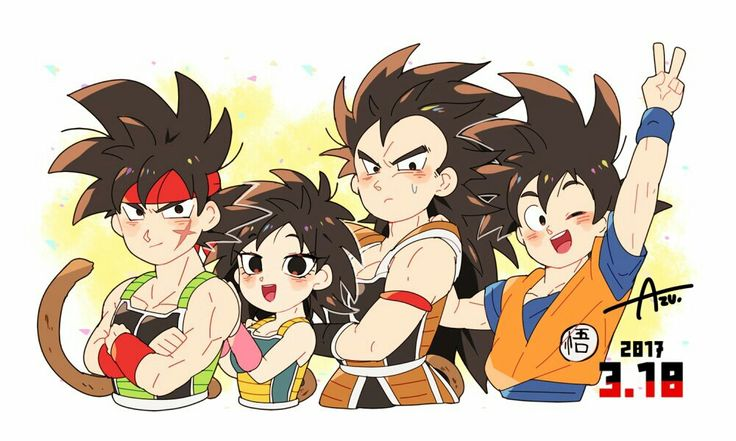 Goku, Bardock, Raditz, and Gine