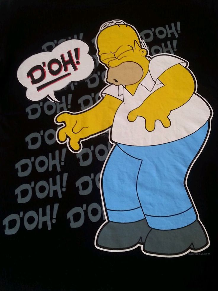 """The Simpsons Mens T Shirt Humour Funny Homer Black Big Graphic """"D'oh!"""" Dad Sz L in Clothing, Shoes, Accessories, Men's Clothing, T-Shirts 