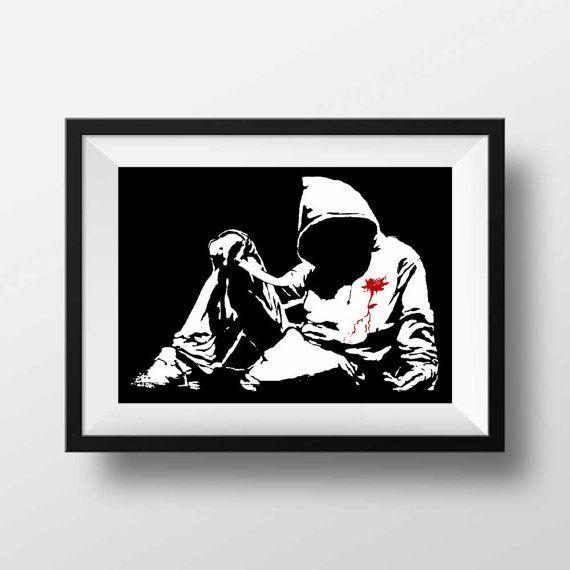 Banksy print  banksy hoodie knife stencil urban art by BelugaStore