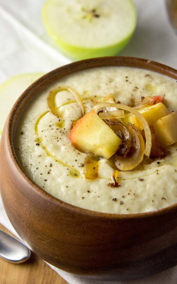 Cauliflower & Parsnip Soup with Caramelized Onions & Apples by @ForagedDish