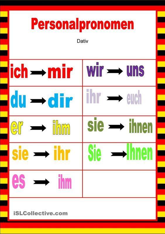 47 besten pronomen bilder auf pinterest deutsch lernen