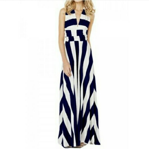 Nautical Striped Dress The Perfect Beach, Cruise, Carnival, Festival Dress! This dress says small, but it's more like a small/medium-sized. It's slightly off white and blue in color. The dress has 3 tiny, tiny, tiny dots on front. Nothing a little Tide Pod can't handle? Dresses Maxi