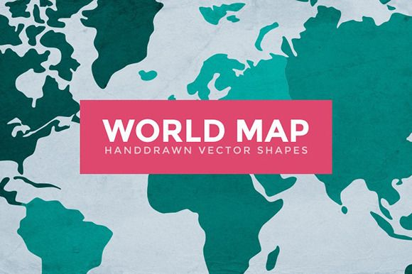 World Map Handdrawn Vector Shapes by Medialoot on Creative Market