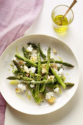 Roasted Asparagus Salad with Goat Cheese and Bread Crumbs -- top off ...