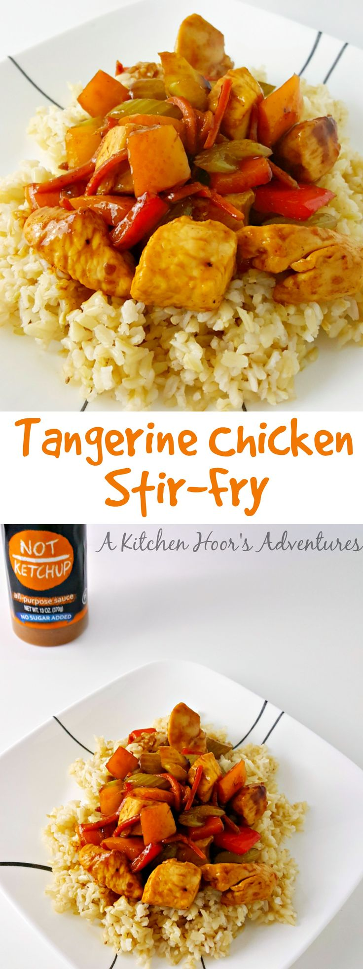 Both sweet and tangy, this #FreshTastyValentines recipe for Tangerine Chicken Stir-Fry is healthy and quick, It uses @NotKetchupSauce Tangerine Hatch Chili sauce, lean chicken breast, and tasty vegetables for this delicious dinner.