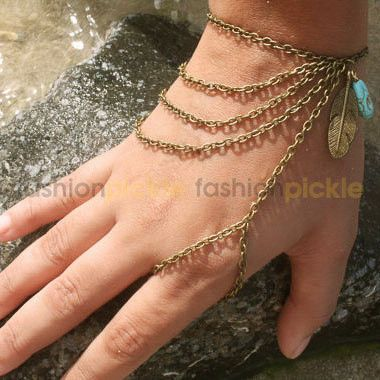 Gold Bracelet and Finger Chain Ring